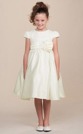 Cap-Sleeve 3-4-Length Floral Satin Flower Girl Dress