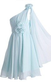 Pleated Floral A-Line Single-Shoulder Gown
