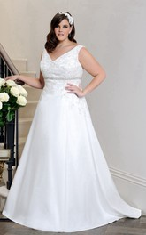 V-neck Sleeveless A-line Satin Dress With Jeweled Waist And Beading