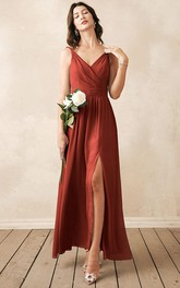 Casual A Line Chiffon V-neck Ankle-length Bridesmaid Dress With Ruching