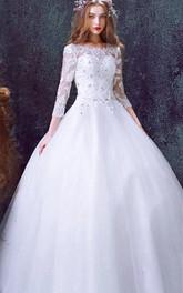 Rhinestoned 3 4-Long Sleeve Princess Tulle Romantic Dress