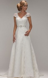 Cap-sleeve V-neck A-line Lace Wedding Dress With Jeweled Waist