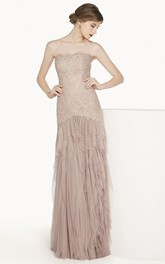 Strapless Lace Sheath Dress With Appliques And Cascading Ruffles
