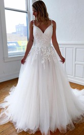 Spaghetti V-neck Lace Tulle Court Train Cross Back Ball Gown Wedding Dress