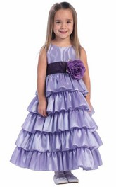 Taffeta Tiered Ankle-Length Flower Girl Dress