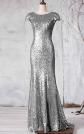 Sequined Sweep Train Cap-Sleeve Bateau-Neck Long Dress