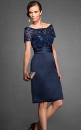 Bateau Short Sleeve Pencil midi Dress With Illusion And Sequins