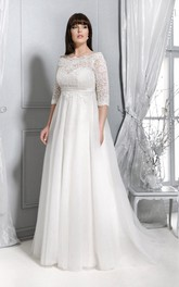 Bateau Lace Half Sleeve Tulle Empire plus size wedding dress With Sweep Train