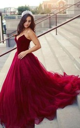 Strapless V-neck Tulle Sleeveless Court Train Ball Gown Formal Dress with Ruffles