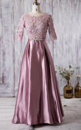 Pleated Lace V Back Short-Sleeve Scoop-Neckline Long Gown