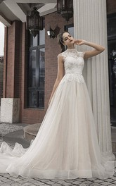 Vintage High Neck Cap Sleeve Lace Tulle Bridal Gown With Button Back