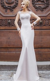 Long-Sleeve Rhinestone Floor-Length Fishtail Lace-Up Appliqued Gown