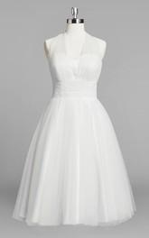 Short Ruched Bridal A-Line Halter Tulle Dress
