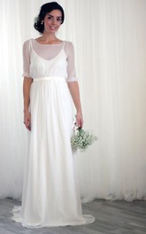 Wedding Short-Sleeves Chiffon Vintage-Inspired Dress