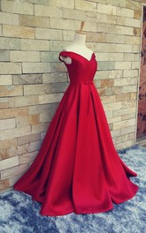Satin Pleated Lace-Up Back Floor-Length Off-Shoulder Gown