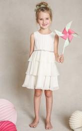Sleeveless Chiffon Scoop-Neckline A-Line Mini Flower Girl Dress
