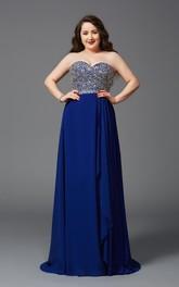 A-line Floor-length Sweetheart Sleeveless Chiffon Beading Draping Backless Dress