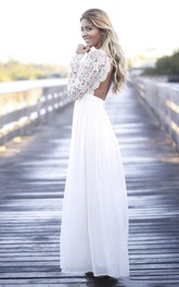 Simple A-line Lace Long Sleeve Chiffon Gown With Scalloped Plunging Neckline And Open Back