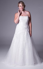 Strapless A-line Tulle Lace Appliques plus size Dress With Sweep Train