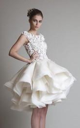 High-Waist Bell Appliqued Princess A-Line Cap Jewel Dress