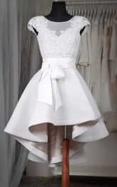 A-line Short Sleeve High-low Square Satin Wedding Dress with Zipper Back