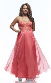 A-line Floor-length Sweetheart Sleeveless Jersey Appliques Pleats Backless Dress