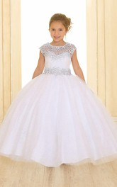 Scoop-neck Cap-sleeve Ball Gown flower girl Dress With Beading