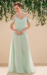 Spaghetti Chiffon Ruched Bridesmaid Dress With Zipper back