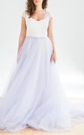 Cap-sleeve Tulle A-line Floor-length Dress With Sweep Train And Lace