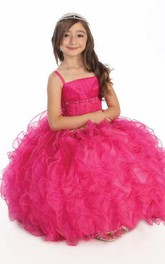 Tiered Lace Floor-Length Spaghetti Organza Ruffled Flower Girl Dress