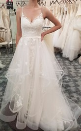 Adorable Ruffled Sleeveless Spaghetti V-neck Tulle Wedding Dress With Floral Appliques