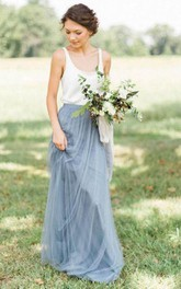 Long Pleated Scoop Neckline A-Line Sleeveless Tulle Gown