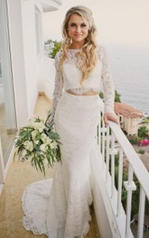 Romantic Modern Long Sleeve Lace Bateau Floor-length Two Piece Wedding Dress