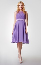Chiffon Lace High-Neckline Short Bridesmaid Dress