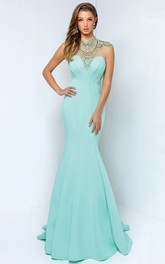 Trumpet Jeweled Full-Length High-Neck Jersey Sleeveless Keyhole Dress