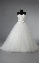 Ruched Crisscross Bodice Beaded Flowers Tulle Sweetheart Ball Gown