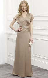 Jeweled V-Neckline Cap-Sleeve Satin Mother Of The Bride