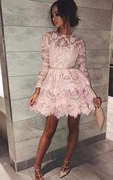 Long Sleeve A-line Short Mini High Neck Sash Ribbon Tiers Lace Homecoming Dress