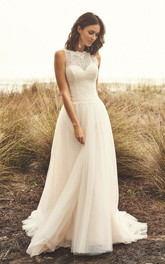 Sleeveless Jewel Neckline Lace Tulle Wedding Dress With Illusion Button Back And Court Train