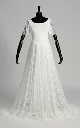 A-line Satin Lace Scoop Floor-length Sweep/Brush Train Short Sleeve Pleats Maternity Wedding Dress