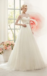 Long-Sleeve Lace Waist Jewellery Floor-Length A-Line Tulle Gown