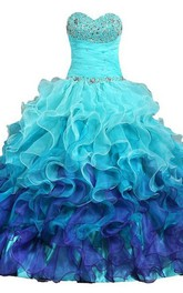 Full-Length Organza Sweetheart Bell Cascading-Ruffle Jeweled Sequined Ball Gown