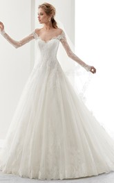 Bateau Illusion Long Sleeve A-line Ball Gown Wedding Dress With Appliques And Court Train