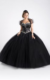A-Line Removable Cap Crystal-Bodice Sleeveless Tulle Ball Gown