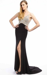 Jeweled Slit Front Formal Floor-Length Sheath Jersey Dress