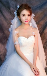 New Short Simple Beautiful Flower Tassel Bridal Veil