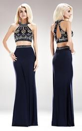 2-Piece Beaded Column Jewel-Neck Jersey Sleeveless Keyhole Dress