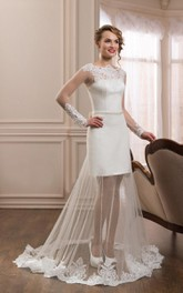 Bateau Long Sleeve Illusion Wedding Dress With Appliqued detachable skirt