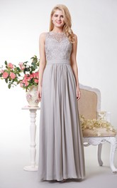 Chiffon Back Keyhole Bateau-Neckline Lace-Top Floor-Length Gown