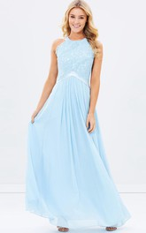 Jewel-Neck Sleeveless Chiffon Pleated Dress With Appliqued top